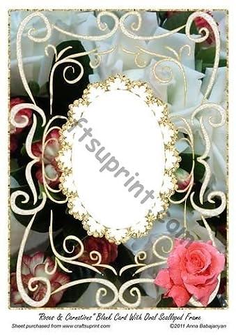 Œillets Roses & cartes vierges avec cadre photo ovale festonné