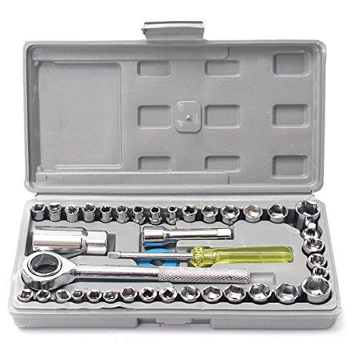 Alamor 40Pcs 3/8cm und 1/8cm Laufwerk Sockel Set Werkzeugsatz Ratsche Schraubenschlüssel Extension Bar für Auto Motorrad
