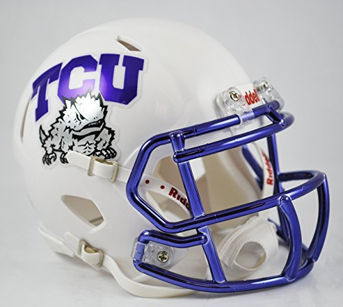 TCU Texas Christian Horned Frogs Alternate White Chrome Speed Mini Football Helmet by Riddell Tcu Mini