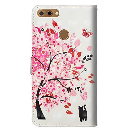sinogoods Für ZTE Blade V9 Vita Hülle, Premium PU Leder Schutztasche Klappetui Brieftasche Handyhülle, Standfunktion Flip Wallet Case Cover - Eine Katze unter Einem Baum