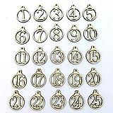 Vimbhzlvigour hölzerne Nummernschilder 1 - 25, viele Muster, Countdown-Adventskalender, Zahlen, zum Basteln, Geschenkanhänger multi