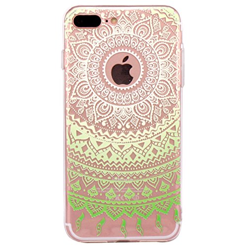 iPhone 7 Plus Hülle, JIAXIUFEN TPU Silikon Schutz Handy Hülle Handytasche HandyHülle Etui Schale Schutzhülle Case Cover Tasche Etui für iPhone 7 Plus (5,5 Zoll) - Pink White Tribal Mandala Dream Catch Color03