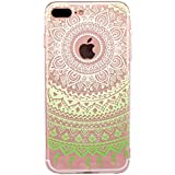 iPhone 7 plus Funda, JIAXIUFEN Funda de Silicona Suave Case Cover Protección cáscara Soft Gel TPU Carcasa Funda para Iphone 7 plus (2016) - Green White Tribal Mandala