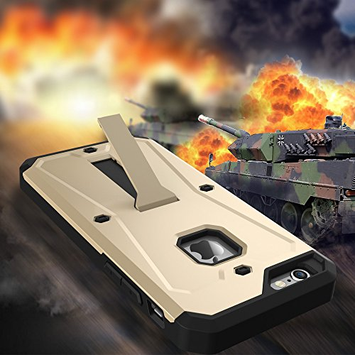 JIALUN-Telefon Fall IPhone 6s 6 Fall, PC + TPU abnehmbares 3 in 1 rückseitige Abdeckung Kühler Telefonkasten ( Color : Black , Size : IPhone 6s ) Gold