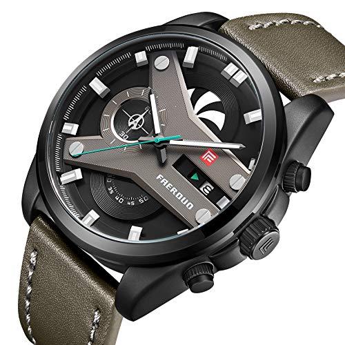 ec0be553376 FAERDUO Orologio Uomo Cronografo al Quarzo Orologio dal Polso Cinturino in  Pelle Verde Impermeabile F8228