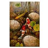 ZFDYH Fish Lotus Piedra LienzoAnimal Paisaje Pintura Wall Art Imagen para la Sala de Estar Moder Decoración para el hogar 30x45 cm 1