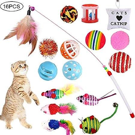 GOLDGE 16 Stück Katzenspielzeug Katze Toys Variety Spielzeug Set Federspielzeug Bälle Verschiedene Spielzeug für Katze…