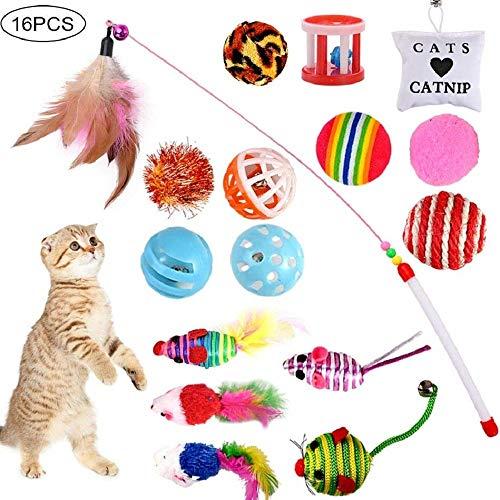G 16 Stück Katzenspielzeug Katze Toys Variety Spielzeug Set Federspielzeug Bälle Verschiedene Spielzeug für Katze Kitty