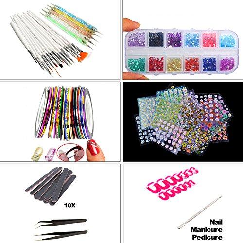 lzn Nail art Set Maniküre Pediküre Nagelhaut Nagel Clippers + Pinsel + DIY Striping Tape Linie + Transfer Tipps Kristall Glitter Decor Nail art Werkzeug (Komplettes Set Acryl-nagel-kit)