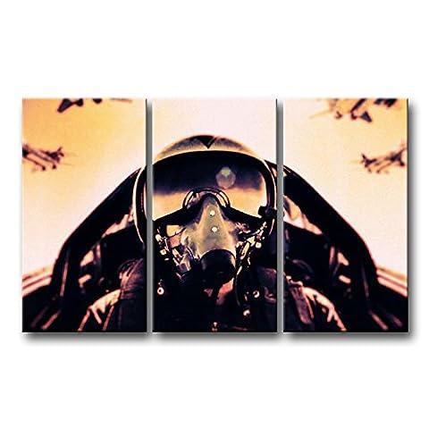 3pièces Décoration murale Tableau aviation Avion mouches Liner en ciel des Impressions sur toile images à la durabilité à l'huile pour Home Décor Imprimé moderne Décoration