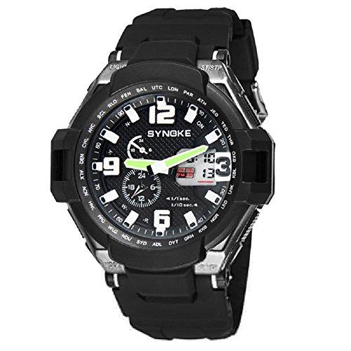 multi funzione impermeabile doppio digitale al quarzo led orologio militare sport/51.16mm* 16.25mm (Doppio Tempo Cronografo)