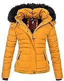 Navahoo warme Damen Winter Jacke Parka Mantel Stepp Kurzjacke gefüttert B301 (M, Gelb)