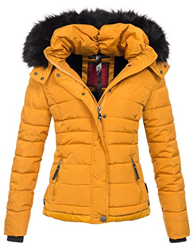 Navahoo warme Damen Winter Jacke Parka Mantel Stepp Kurzjacke gefüttert B301 (S, Gelb)