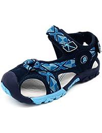 Bwiv sandalias velcro para niño con plantillas forradas de piel sandalias de playa duraderas de las tallas 24,5-38 EU