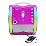 Singing Machine SML363P CD and Bluetooth Karaoke Machine with Mic and 3 CDG's, Pink