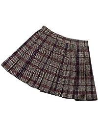 ZhuiKunA Mujeres Falda Escocesa Plisada Escuela Uniforme Tartán Cuadros  Cintura Alta 5c76fb092c15