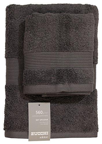 Set spugna coppia 2 pezzi 1+1 ospite 40 x 60 + asciugamano 60 x 110 zucchi solotuo asciugamani 100% spugna di puro cotone 560 gr/mq (antracite - 1735)