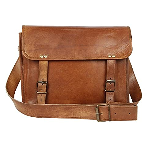 Rustic Town Leather Vintage Crossbody Messenger Courier Bag Gift Men Women Business Work Briefcase Carry Laptop Computer Books Handmade Rugged & Distressed ~ Everyday Office College School 15 Inch