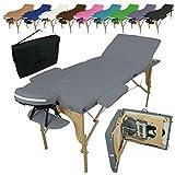 Vivezen ® Table de massage pliante 3 zones en bois avec panneau Reiki + Accessoires et housse de transport - 10 coloris - Norme CE - Gris...