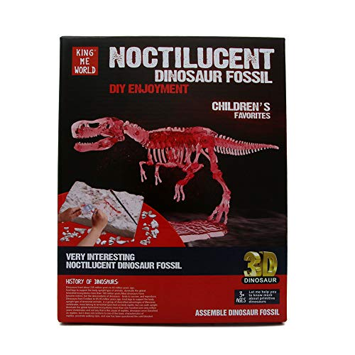 EZ Life 3D Noctilucent Dinosaur Fossil Excavation Toy Kit - Tyrannosaur Skeleton - Glow in Dark - Fun with Education - Science Kit - Dino Excavation Kit for Kids - Birthday Gift Toys - Return Toys