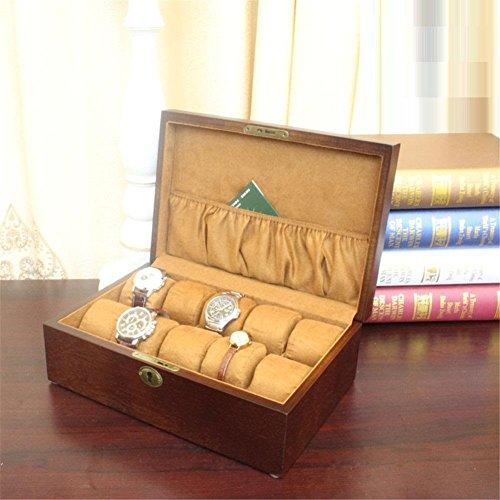 SHISHANG Watch Box Watch Display Aufbewahrungskoffer Brust hält 10+ Uhren mit verstellbaren weichen Kissen und hohe Clearance für größere Uhren