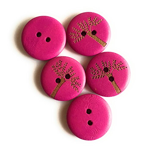 15 Boutons en Bois Multicolores 20mm décorés avec Un Arbre de Vie (Pink)