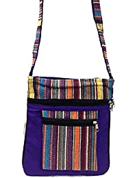 Blue Embroidery Bohemian Crossbody Sling Bag Cotton Handmade Passport Handbag