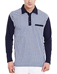 Hypernation Blue And White Check Cotton Polo T-shirt For Men