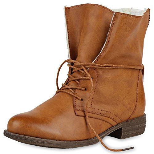 SCARPE VITA Damen Stiefeletten Warm Gefütterte Stiefel Schnürstiefeletten 149585 Hellbraun Weiss Warm Gefüttert 36