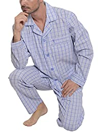 El Búho Nocturno Pijama de Caballero Largo clásico a Cuadros/Ropa de Dormir para Hombre