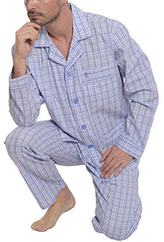 El Búho Nocturno - Herren Karierter Zweiteiliger Pyjama mit Langen Ärmeln | Schlafanzug, Klassische Nachtwäsche für Männer - Popelinestoff, 100% Baumw. - Größe L - Himmelblau, Lila und Weiß