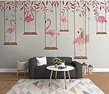YFXGSTLI Fotomurales Pared Dormitorio Infantil, Papel Pintado Fotográfico, Mural Pared Infantil Niño, Pared De Fondo De Dibujos Animados Flamingo Carácter Niños Habitación-W350xH256cm