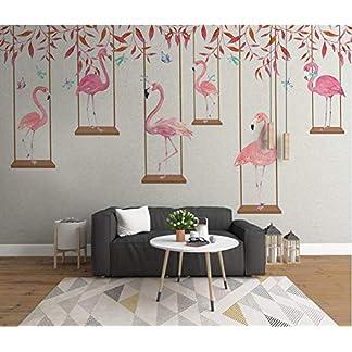 YFXGSTLI Fotomurales Pared Dormitorio Infantil, Papel Pintado Fotográfico, Mural Pared Infantil Niño, Pared De Fondo De Dibujos Animados Flamingo Carácter Niños Habitación-W300xH210cm