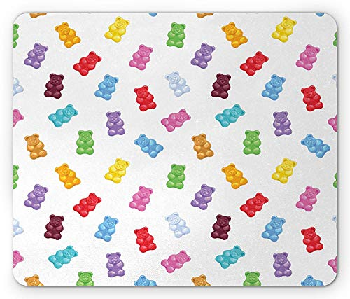 Drempad Gaming Mauspads, Sweet Mouse Pad, Colorful Gummy Bears Kids Candy Yummy Jelly Playroom Kids Baby Nursery Theme Image, Standard Size Rectangle Non-Slip Rubber Mousepad, Multicolor -
