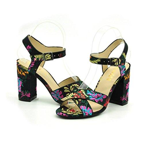 QPYC Tacco a spillo tacco alto Sandali con tacco alto Tondo ricamato Take Buckle Comodo Cross Belt Retro Roman Shoes black