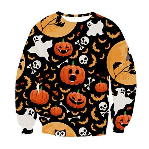 KPPONG Halloween Kostüm Damen Kürbis Geist Muster Sweatshirt Pulli Locker Langarmshirts Blusen Oberteile Langarm - Stewardess Kostüm Muster