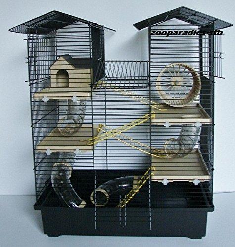 Super Hamsterkäfig, Nagerkäfig, Käfig CH2 in schwarz/beige Gratis Futternapf (Hamster Käfig)