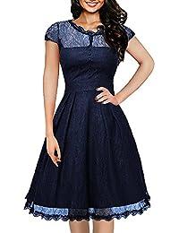 ihot Women s Vintage 1950s Cap Sleeve Floral Lace A Line Shirt Swing Party  Dress 4cc9e0d93