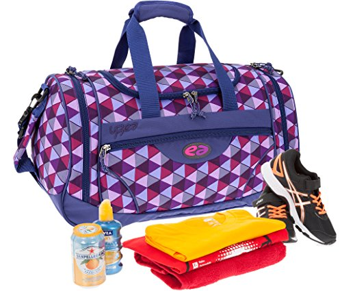 2 Teile SET: YZEA Sporttasche SPORTS by Take it Easy 29016 + Trinkflasche CO2 (WAVE 630 (blau orange)) WILD 626 (lila karo)