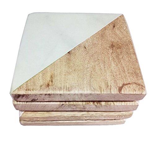 Home Marmor (Marmor & Mango Holz Untersetzer–Weiß Carrara Marmor Stein Set von 4Untersetzer für Ihre Bar und Home Getränke)