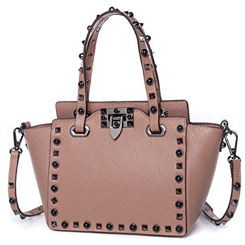 Aus Echtem Leder Eimer Handtasche (GSHGA Neue Handtaschen Fashion Echtes Leder Eimer Tasche Schultertasche Top-Griff Taschen Totes,Pink)