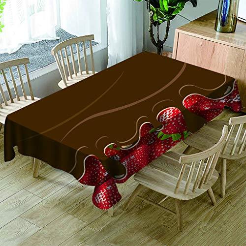 JHSH Tischdecke Polyester Rechteckige Erdbeere Schokolade Garten Küche Im Freien Innenraum130x280cm - Schokolade Quadratische Tischdecke