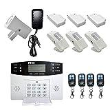 Homyl Funk Alarmanlage SMS GSM PIR-Sensor Sicherheitssystem Set für Haus, mit 1 Sirene, 3 PIR-Sensoren und 3 Türsensoren, 4 Fernbedienung