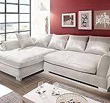 Homeline couchgarnitur Polsterecke, Ecksofa, Schlafsofa Eck Sofa Wohnlandschaft Megasofa (Kunstleder Weiß, Links Version)