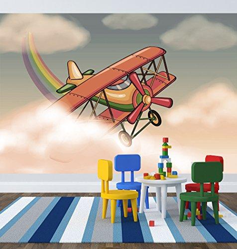 selbstklebende Fototapete - Kinderbild - Flugzeug Cartoon - Vintage - 150x100 cm - Tapete mit Kleber – Wandtapete – Poster – Dekoration – Wandbild – Wandposter – Wand – Fotofolie – Bild – Wandbilder - Wanddeko