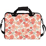"""Snoogg Pink Flower Pattern 13"""" 13.5"""" 13.6"""" Inch Laptop Notebook SlipCase With Shoulder Strap Handle Sleeve Soft Case With Shoulder Strap Handle Carrying Case With Shoulder Strap Handle For Macbook Pro Acer Asus Dell Hp Sony Toshiba"""