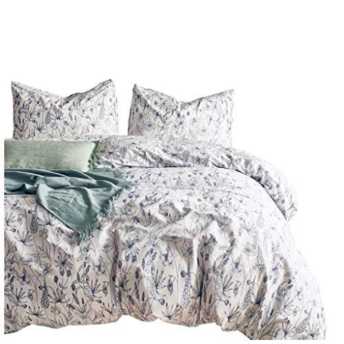 ite Floral Design Blue Print Doppel-Bettbezug Und Passende Kissenbezüge Set Weiche Bettwäsche Quilt Case Double King (Size : King(104