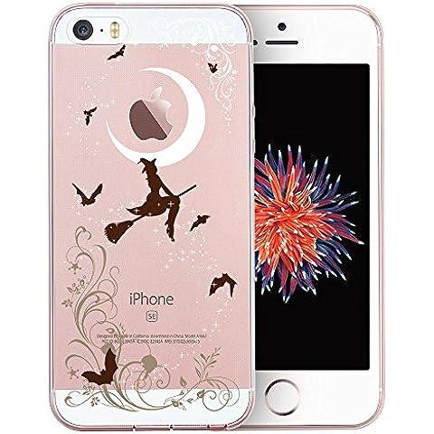 Cover iPhone SE, TrendyBox Cute Trasparente Case Cover per iPhone 5 5S SE (Streghe di Halloween)