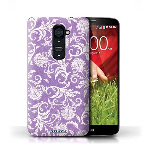 Kobalt® Imprimé Etui / Coque pour LG G2 / Fleurs Rouges conception / Série Fleurs Fond Violet