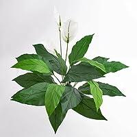 artplants - Spathiphyllum artificiel ROMY, 3 fleurs blanches, 17 feuilles, sur piquet, DELUXE, 70 cm - Plante fleurie artificielle / Fausses fleurs